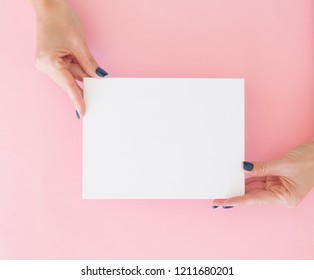 Woman's hands with perfect manicure holding clean blank for your text. Pink pastel trendy background.