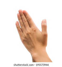 Woman's hands praying against a white background