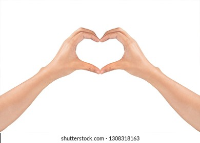 Woman's hands shaping a heart symbol for valentine's day or wedding isolated on white background