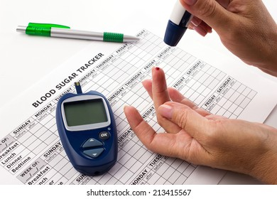 woman's hands testing for sugar level in blood, near lie glucometer, medicine form on white background