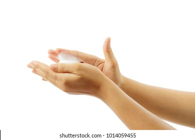 Woman's hands with white foam isolated over white background, clipping path.