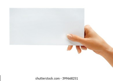 Woman's hold envelope isolated on white background. Close up