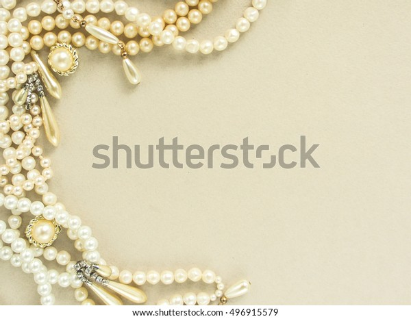Womans Jewellery Frame Old Vintage Brooches Stock Photo