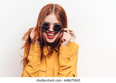 Woman's joy round glasses, light background
