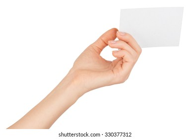 Womans left hand offering small empty card on isolated white background