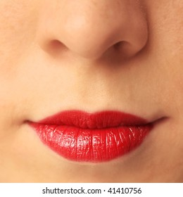 Woman's lips with make up