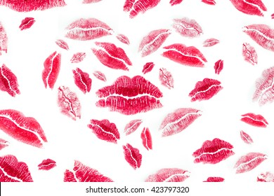 Woman's lipstick,Heart shape made with print kisses