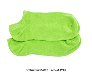 Woman's original ankle low rise green socks isolated on white background