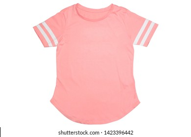 Woman's pink t-shirt isolated on white background