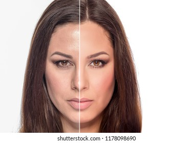 Woman's portrait with retouched and without retouching is divided into half of the face.
