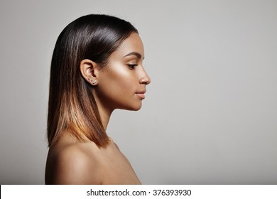 woman's profile, straight hair