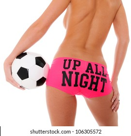 Woman's Sexy Backside Holding a Soccer Ball