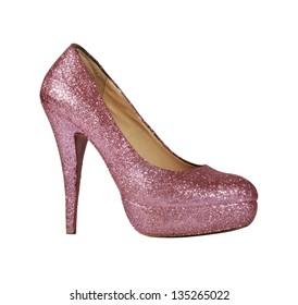 woman's shoe glitter