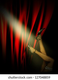 Woman's stockinged legs and high heels over cabaret red background in spotlights.