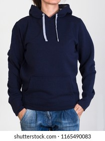 Woman's sweatshirt for clothes of catalogue and edition and sample without logos in white bottom