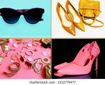 Women accessories and Jewelry set collage sunglasses shoes on high heels emerald gold silver rings coral pink blue, green