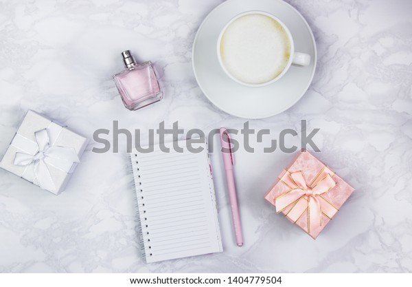 Women Accessories On White Marble Table Stock Photo Edit Now