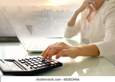 women accountant or banker making calculation interest. concepts of accounting, financial, banking.