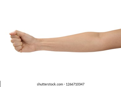 women arm with blood veins on white background