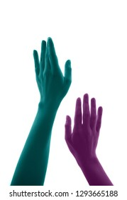women arms moving upward simulate lust. They are painted in cyan and magenta, turquoise and pink gesturing the quest, craving, longing, hunger, thirst, aspiration towards something or someone.