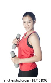 Women athletes exercise to burn fat with yoga and exercise using dumbbell . Beautiful sporty fit yogini woman  doing yoga practice on White background-concept,healthy life and natural balance
