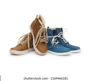 The women autumn winter boots isolated on the white background