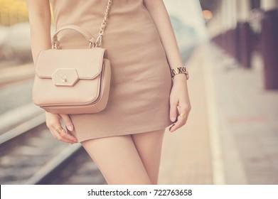 Women bag shoulder bag.vintage color tone