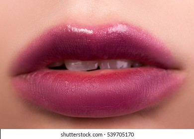 Women beautiful sexy lips macro, makeup,closeup, girl