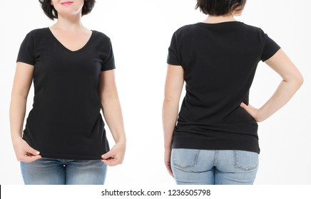Women black blank t shirt front and back rear view isolated on white background. Template shirt, copy space and mock up for print design. Cropped image