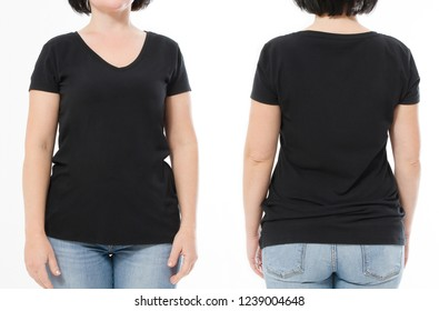 Women black blank t shirt, front and back rear view isolated on white background. Template shirt, copy space and mock up for print design. Cropped image