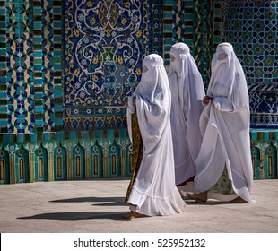 Women at Blue Mosque in Mazar-e Sharif, Afghanistan