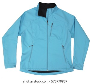 Women blue soft shell sport outdoor jacket isolated