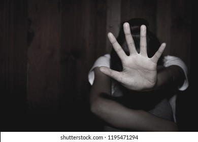 Women  bondage lift hands against violence against women,  image blur,international women's day