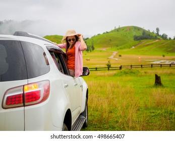 Women in a car at Phu Khao Ya (grass hill) Ranong, Thailand
