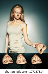 Women choose a mask. Hypocritical, disguise; insincere, two-faced female