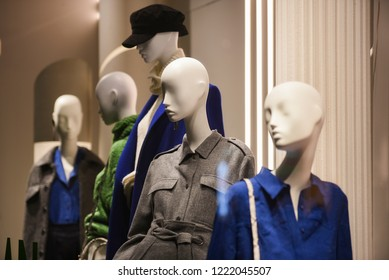Women clothing on mannequins in a store in Paris,2018.
