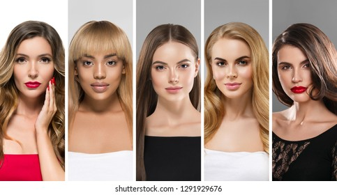 Women collage beauty different hair color hairstyle beautiful females portrait set