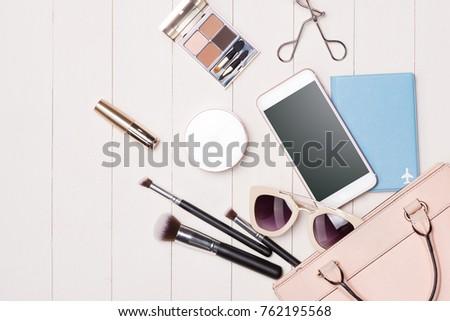 cb4725fe558 Women Cosmetics Fashion Items On Table Stock Photo (Edit Now ...