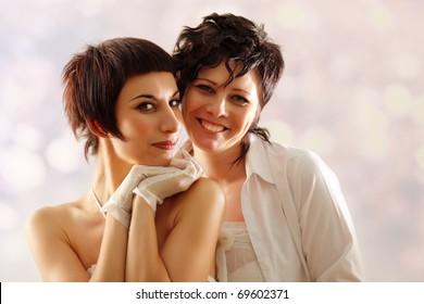 women couple happy attractive