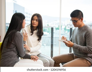 Women couple at a reception of psychologist