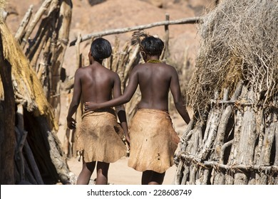 Women of Damara people in cultural village in Damaraland district in Namibia, South Africa