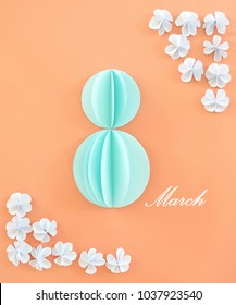 Women day background with frame flowers. 8 March card. Paper craft with text.