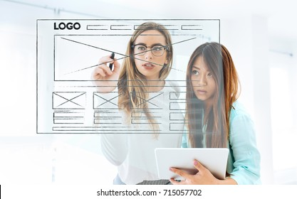 women designing a website
