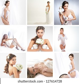 Women in a different bridal lingerie and dresses: collage