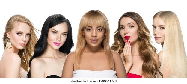 Women different hair blonde brunette smooth and curly different hairstyle healthy skin makeup