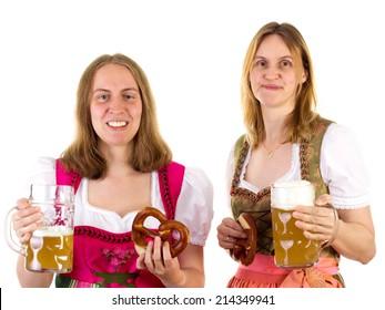 Women in dirndl having fun at oktoberfest
