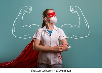 Women in doctor uniform with superhero force. Strong doctor with drawn muscles