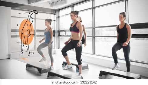Women doing exercise with futuristic interface demonstration coach-like