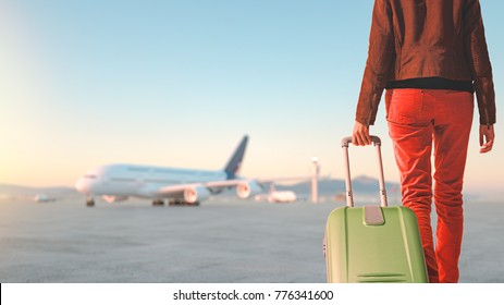 Women drag their luggage to board the plane. 3d rendering and illustration.