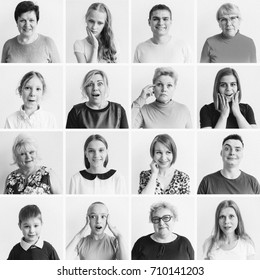 Women emotions collage